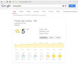 Google mostra a temperatura da sua cidade