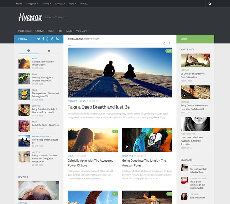 Layout WordPress Hueman
